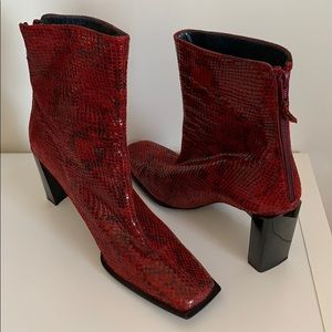 Vintage Stuart Weitzman Red Snakeskin Booties